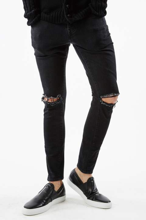 《gossip別注》-STRETCH BLACK DENIM KNEE CLASH-