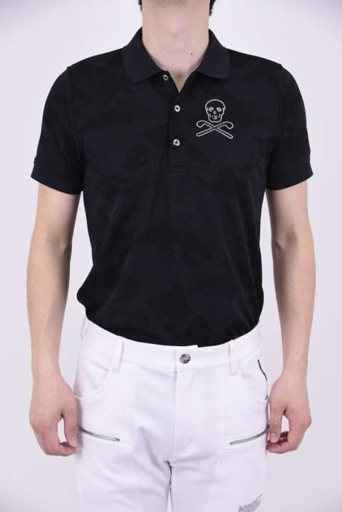 86c3ad1b995f3 GAGE POLO / スワロフスキー アイアンスカル ポロシャツ ブラック『LEON7月号P234掲載商品』