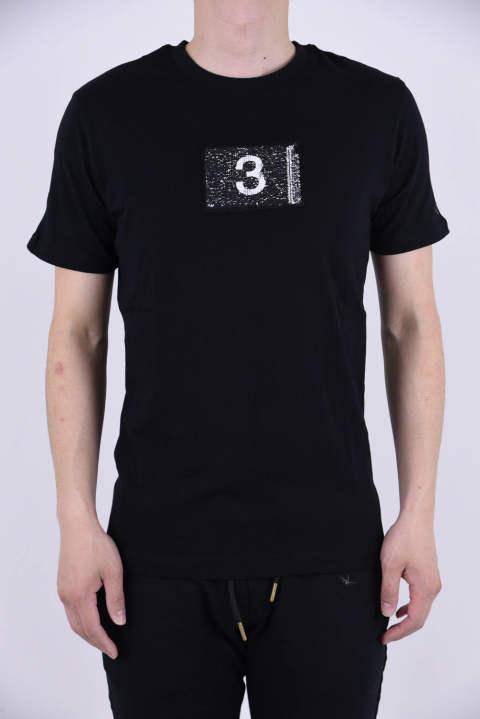 a7f9be18d2992 《1PIU1UGUALE3 RELAX×Kappa》 2FACE TEE / スパンコールワッペン クルーネック 半袖Tシャツ ブラック