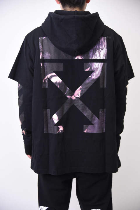 CARAVAGGIO ARROWS DOUBLE TEE HOODIE / アートプリント アローロゴ ダイアゴナル レイヤード フーディカットソー ブラック
